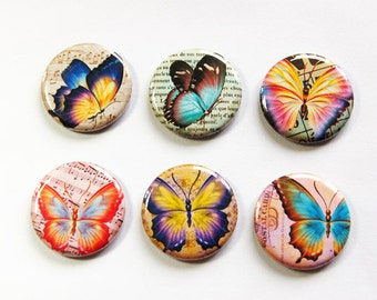 Butterfly Magnets, Nature Magnets, button magnets, Fridge Magnets, Kitchen Magnets, magnet set, butterflies, stocking stuffer (3249)