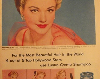 ANNE BAXTER Lustre-Creme Shampoo Original Vintage Advertisement Beauty Movie Star Celebrity Ready To Frame
