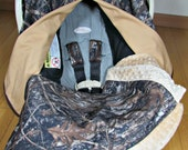 Camo Car Seat Canopy in True Timber Camouflage and Tan with Matching Camouflage and Minky Lap Blanket and Carseat Strap Covers