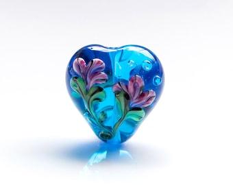 Floral Heart Lampwork Glass Focal Bead