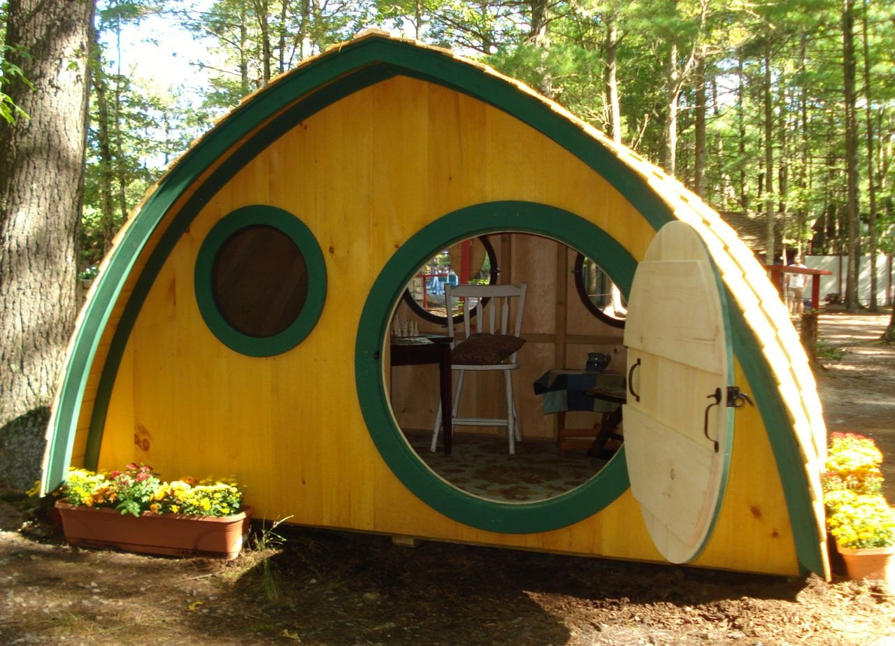 large hobbit hole playhouse kit outdoor wooden kids clubhouse