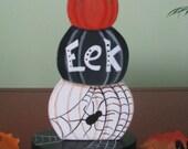Pumpkins, pumpkin stacks, halloween, spider, spider web, black, white, shelf sitter, orange