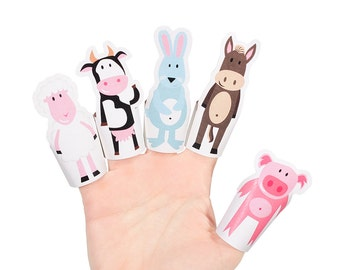Farm Animals Paper Finger Puppets - PRINTABLE PDF Toy - DIY Craft Kit Paper Toy - Birthday Party Favor