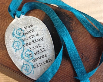 Bookmark Created from a Vintage Silver Plate Spoon with Ribbon Accents, Gift for Teacher, Friend, Unique Gift, Recycled Art