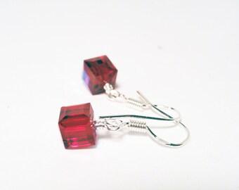 Swarovski earrings - sterling silver earrings - crystal cube earrings - siam red earrings - red crystal earrings - red earrings - red AB