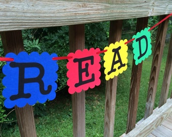 READ and WRITE Classroom Banner Set, School Library Teacher Decoration, Reading Center Sign, Primary Colors Back to School Garland