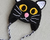 Black Kitty Crocheted Baby Hat