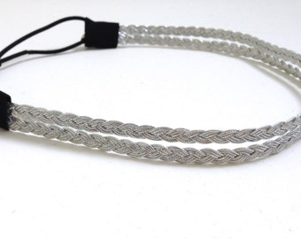 Double Strand Silver Braided Headband