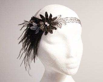 Great Gatsby Flapper Black Feathers Headband - Beaded Hairband - 1920 20s Flapper Girl Inspired - Silver Black Lace