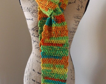 Orange Striped Scarf, crocheted from tutti-fruiti variegated orange red yellow and teal acrylic yarn, ombre striped street scarf