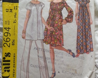 Maternity wear pattern from 1970, maxi/midi dress + tunic & slacks
