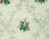 Build Your Own Custom Sample Vintage Wallpaper Packet - Single Scrap Sheet, 8 1/2 in. x 10 1/2 in. Page - Red Rose Buds on White, Floral
