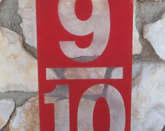 Large Vintage Red Plexiglass Gas Station Sign Number 17 in. x 8 in.