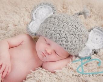 CLEARANCE Crochet Elephant Hat, Newborn baby, hand crochet, photography prop