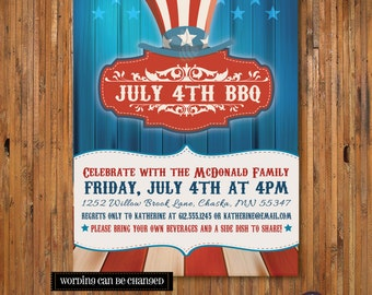 4th of July BBQ Party invitation -July 4th Invitation - Uncle Sam Fourth of July Invitation - Item FJ0003