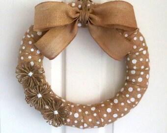 Burlap Wreath - Everyday Wreath - White Polka Dot Burlap Wreath - Burlap Wreath with Jute Flowers - Choose Your Size - Choose Your Burlap