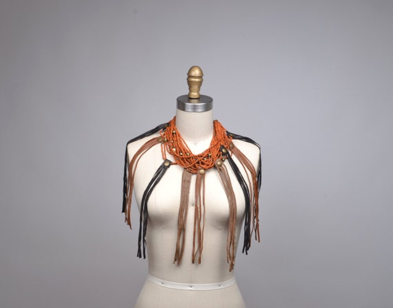 Repurposed Fringe Leather Necklace - Beaded Necklace - Jewelry Necklace - OOAK Leather Necklace - Fringe