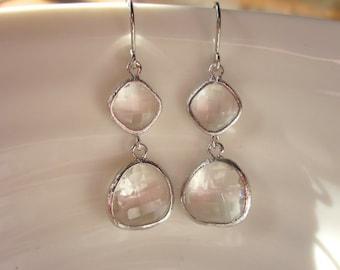 Crystal Silver Glass Earrings, Minimalist, Everyday Earrings, Boho-Chic, Gift