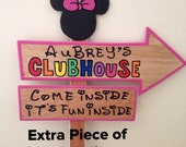 Wood Mickey Mouse or Minnie Mouse Clubhouse Sign - Outdoor Post - Birthday Party Decorations - Standee