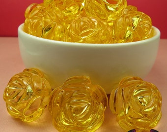 25mm Large YELLOW Transparent Rose Flower Beads (8 pieces),  Acrylic Rose Beads, Chunky Jewelry Beads, Bubble Gum Beads, Bubblegum beads