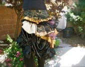 Reserved for Kelli - Bustle, Neo-Victorian Ruffle Bustle Skirt in Gold, Black and Wine with Pagoda Design and Corset Front