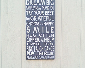Family Rules Sign Dream Big Hand Painted Gray and White