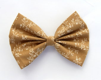 SALE - LAST ONE - Sierra Hair Bow - Tan with White Floral Print Hair Bow with Clip
