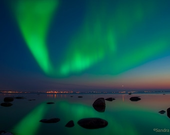 Northern Lights wall art, Aurora Borealis large print of northern lights, boulders, starry sky, print to frame, Tallinn, Estonia