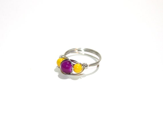 Wire beaded ring, in opaque yellow and purple, silver or gold toned wire wrap, any size