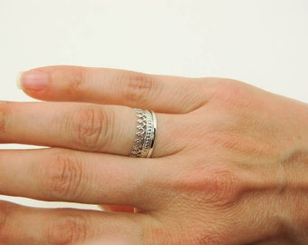 Sterling Silver Ring - Improved Crown Ring - Princess Crown Ring - Sturdy Crown Ring - Silver Tiara Ring