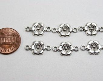 12 pcs Antique Silver Plum Flower Connectors - 18mm long x 10mm wide