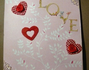 Valentine card/hearts and flowers/ red and pink