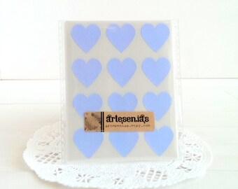 108 Pastel blue heart stickers - 3/4 inch heart stickers - baby blue heart envelope seals
