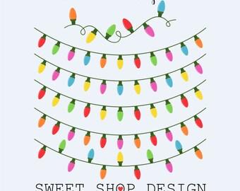 Christmas Ornaments Clip Art, Christmas Clip Art, Holiday Clip Art, Digital Clip Art, LIGHTS, Instant Download