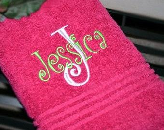 "30"" x 54 Monogram Beach Towels, Monogram Bath Towels, Personalized Towels, Monogram Towels, Embroidered Towels, Bath Towel, Beach Towels"