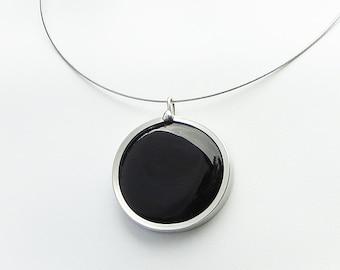 Midnight Black Pendant, Statement Jewelry, Simple Jewelry, Melted glass marble pendant, glass jewelry, necklace pendant 004