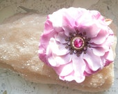 Hair flower pin, with Swarovski crystals.Tribal Fusion belly dance, light pink