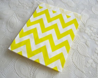 Yellow Chevron Paper Bags, Yellow Kraft Gift Bag 25pcs, Candy paper bag - 5 x 7inch - party favors treat or treat bag, Wedding, cookie bag