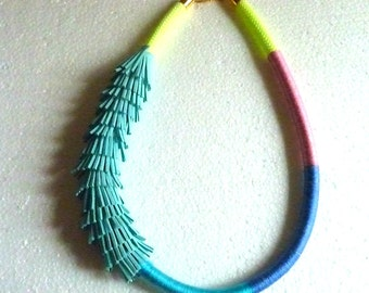 OMBRE necklace yellow ROPE wrapped with colorful cotton string and suede FRINGES
