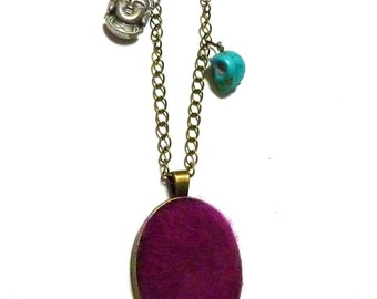 Boho style necklace made of bronze chain, PUFFY FELTED ruby red pendant, turquoize howlite skull and silver BUDHA, gypset, indie, summer