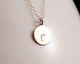 CLOSEOUT Silver Initial Necklace, Small Disc Handstamped Personalized, Sister Mom Aunt Gift, 14kt Gold Filled Minimal, Valetines Mothers Day