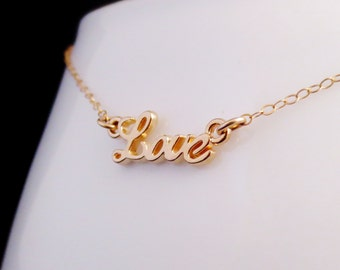 CLOSEOUT Gold Love Necklace, Gold Script Love, Love Word Jewelry, Celebrity Inspired Charm Necklace