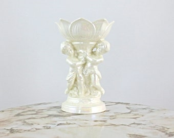 Vintage Cherub Pedestal Dish / Ceramic Candy Dish / Soap Dish / Display Dish in White Pearlescent Glaze