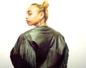 80s Black Cropped Fringe Jacket