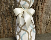 Decorative Festive Wine Gift Bag Tote Soft Egg Blue and Latte Geometric. OOAK Gift Bag, wedding, Bridesmaids, Hostess Gift