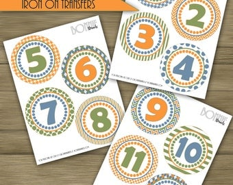PRINTABLE DIY Monthly Stickers or Iron On Transfers //  Baby Milestone // Baby Boy // Green, Light Blue, Orange // 12 unique patterns