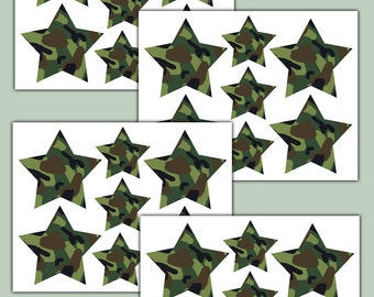Green Camo Stars Wall Decals Teen Boys Hunting Room Decor