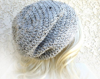 Mens Beanie Slouchy Beanie Crochet Womens Hat speckled rustic gray Hand crochet Slouch hat Baggy beanie sloucher Classic slouch