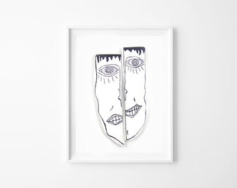 Face, Abstract art print, Black and White, Crazy art