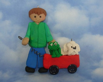 Red Wagon Dog Frog Christmas Ornament Boy Pet Puppy Polymer Clay Milestone Cake Topper Button Wheels Veterinarian Pet Sitter Walker Vet 1st